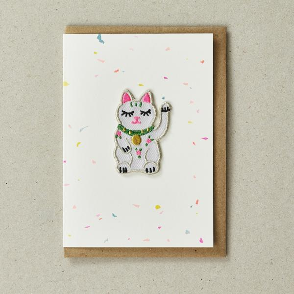 Good Luck Cat - Greeting Card with Iron On Patch & envelope