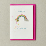 Happy Birthday Rainbow - Greeting Card with Iron On Patch & envelope