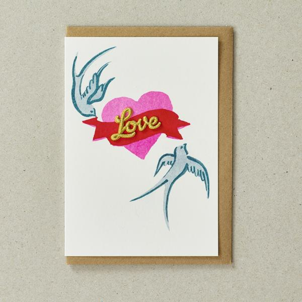 Birds & Heart - Greeting Card with Embroidered detail