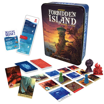 Forbidden island with some contents next to tin