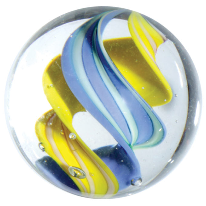 Handmade Helter Skelter Marble (medium) 22mm, blue & yellow