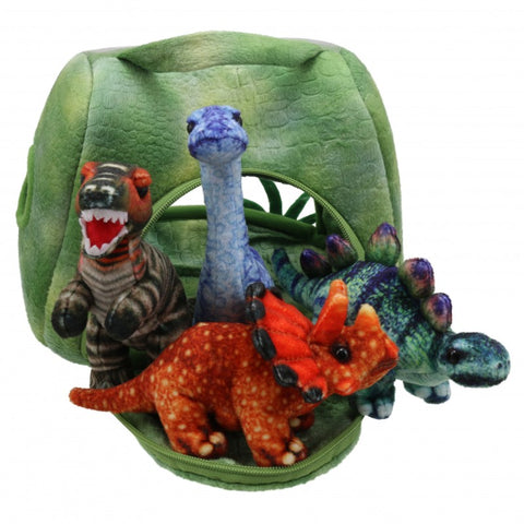 Dinosaur House with 4 Dinosaur Puppets, unzipped and displayed