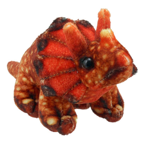 Orange Triceratops Finger Puppet, front side angle