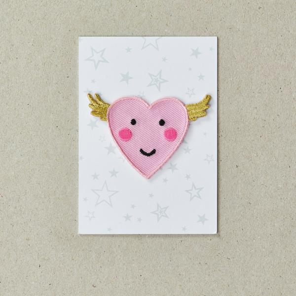 Iron on Patch - Flying Happy Heart, on packaging card