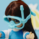Body Boarder - Lottie Doll Accessory Set, posed with doll, close up