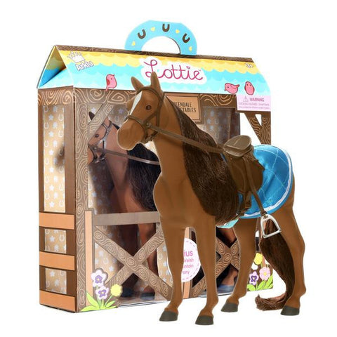 Sirius - Lottie Doll's Welsh Mountain Pony, unboxed standing next to boxed product