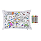 Doodle World Map Pillowcase, partially coloured with pens