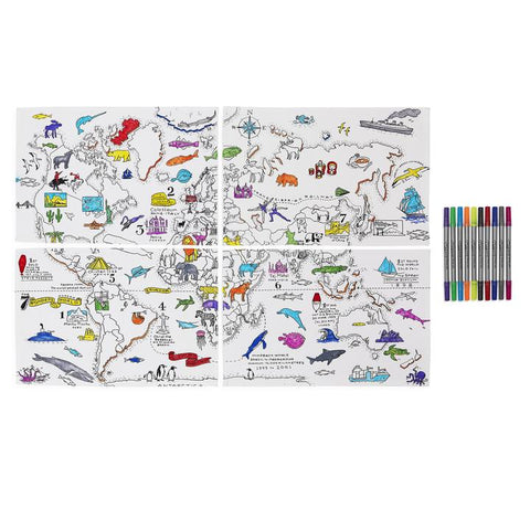 Doodle World Map Placemats and pens, partially coloured in