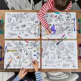 world map placemats with children and pens
