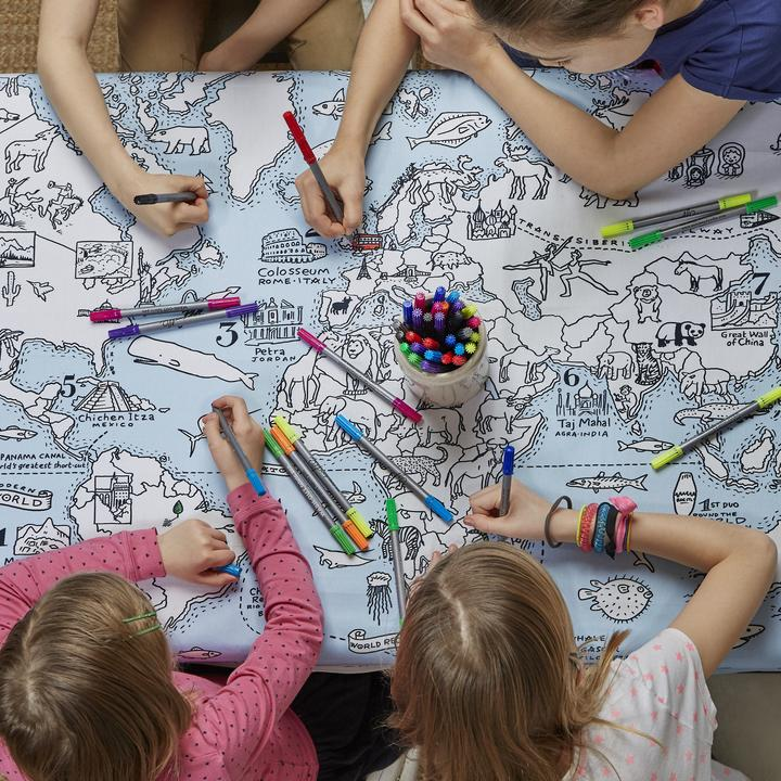 Colour and Learn - World Map Tablecloth, with 4 children colouring