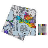 Colour and Learn - World Map Tablecloth, folded with pens