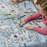 Colour and Learn - World Map Tablecloth, coloured in by girls