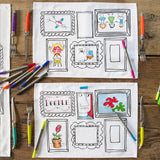 2 doodle frame placemats with pictures on and pens