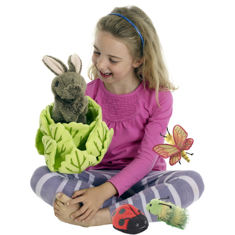 Hide-Away Puppets - Rabbit in a Lettuce (with 3 Mini Beasts) with girl