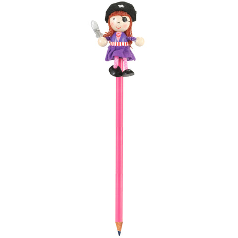 Pirate girl on top of pencil full length
