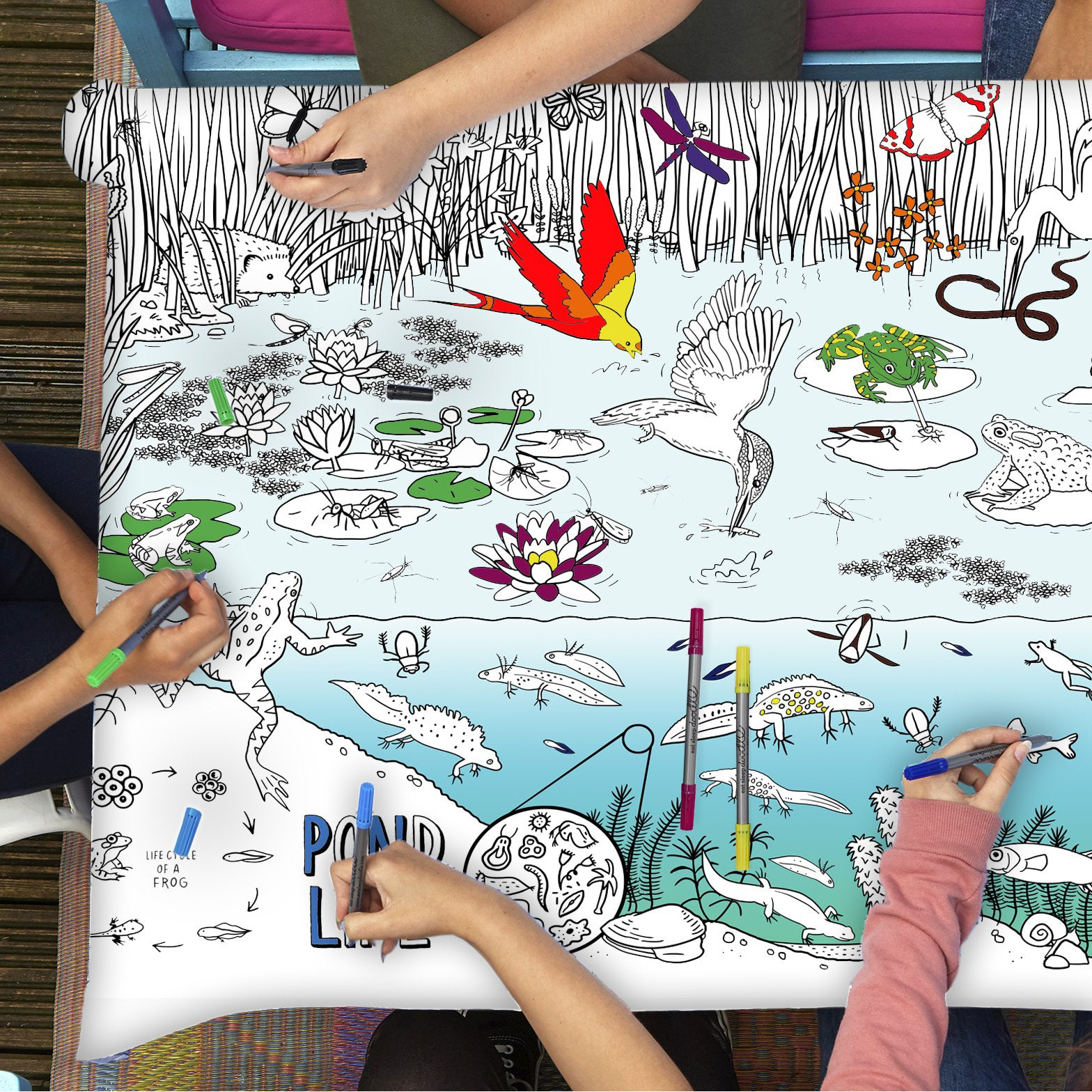 Colour and Learn - Pond Life Tablecloth, lifestyle with kids