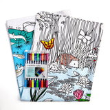 Colour and Learn - Pond Life Tablecloth, packed pens and folded cloth