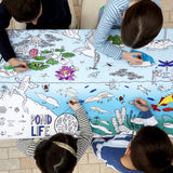 Colour and Learn - Pond Life Tablecloth, lifestyle with kids 3