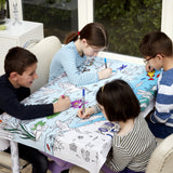 Colour and Learn - Pond Life Tablecloth, lifestyle with kids 4