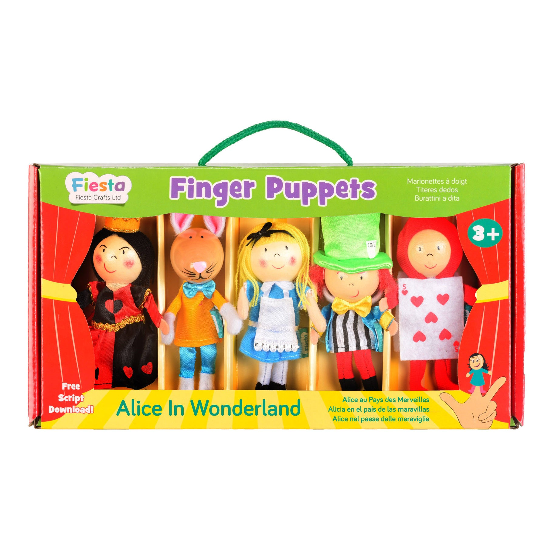 Alice in Wonderland Finger Puppets Set, boxed