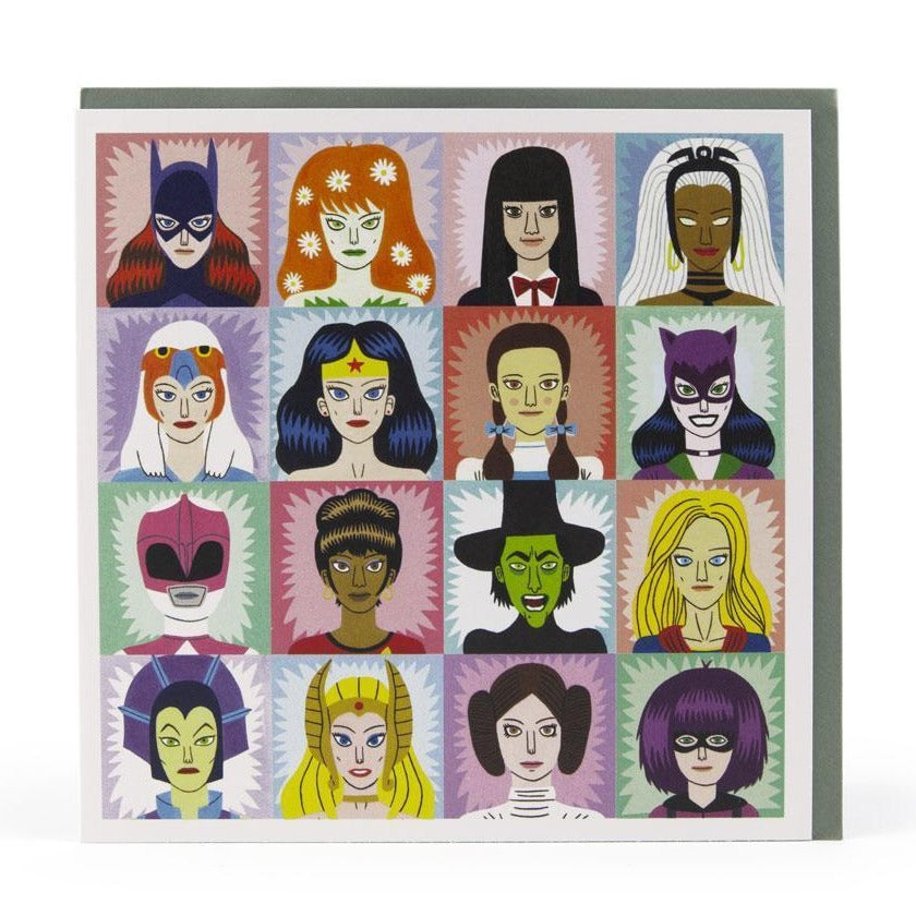 Heroines and villians greeting card, front on with envelope visible behind