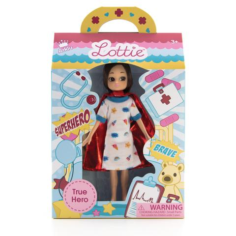 True Hero Lottie Doll (Hospital Stay), front on boxed view