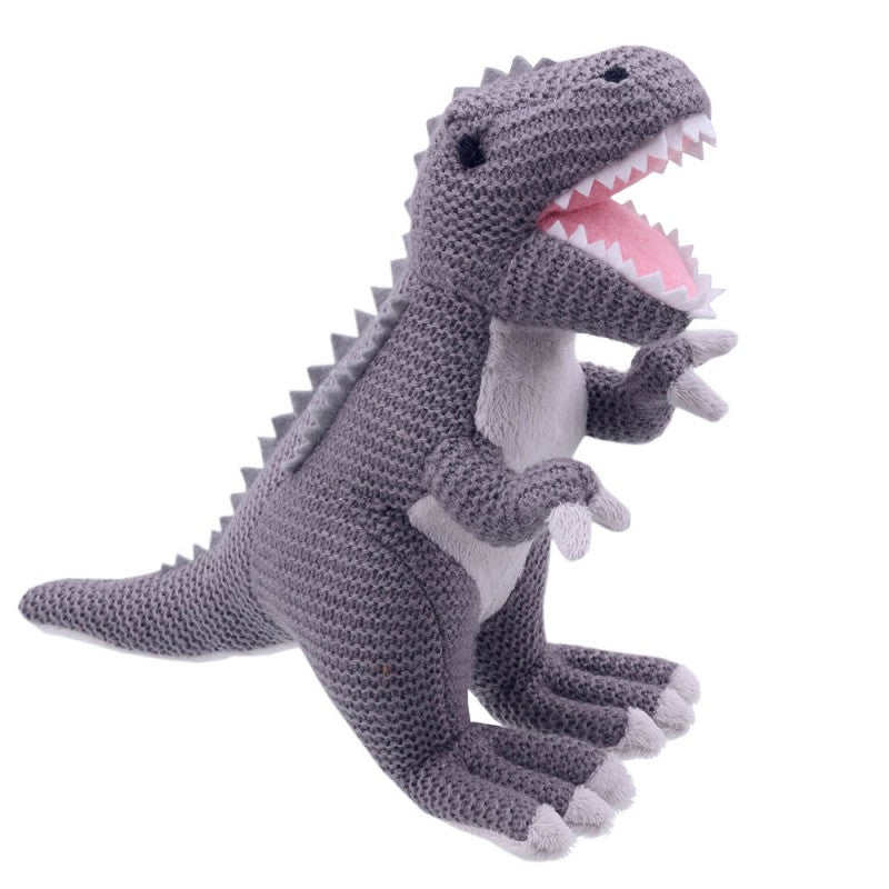 T-Rex Soft Toy -  Wilberry Knitted, side view