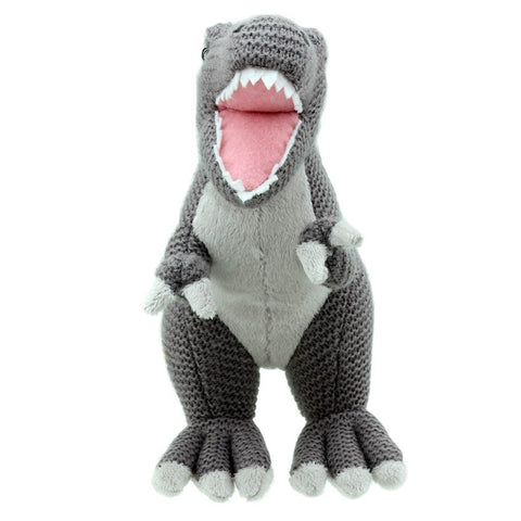T-Rex Soft Toy -  Wilberry Knitted, front view
