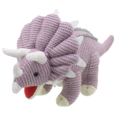 Triceratops Soft Toy - Wilberry Knitted, side front view