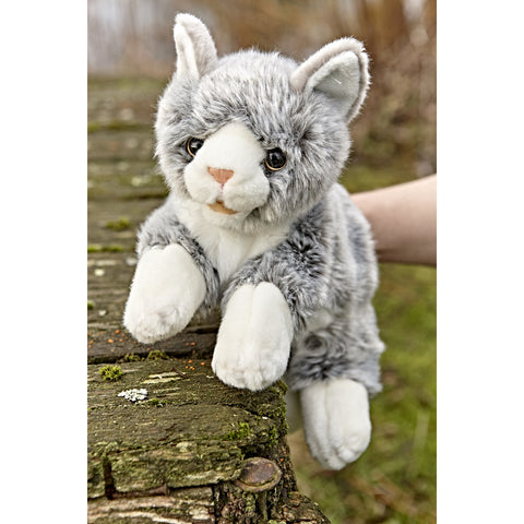 Grey and White Cat Hand Puppet outside