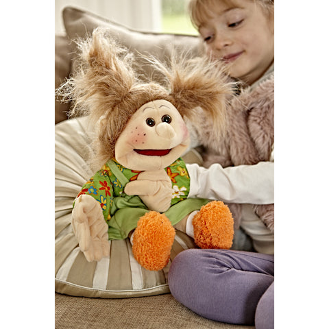 Small Emma - Living Puppet sitting on cushion with child