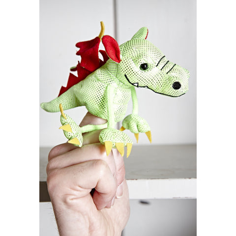 Dragon (Green) Finger Puppet side view on hand