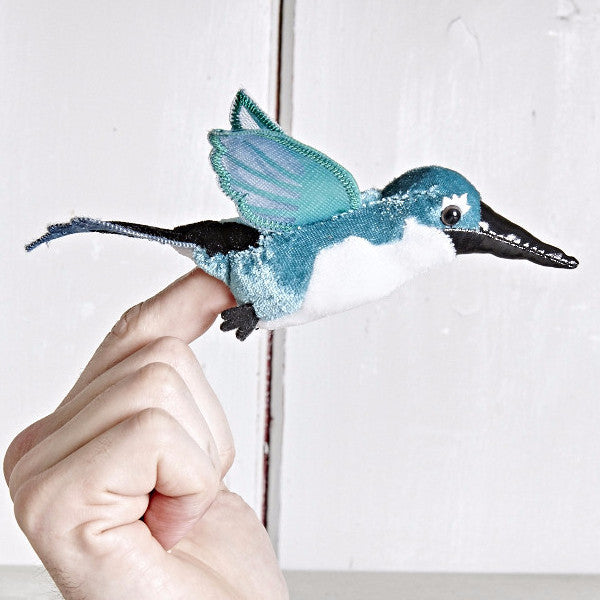 Hummingbird (Green) - Finger Puppet on finger