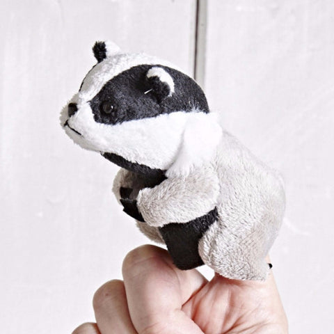 Badger Finger Puppet on finger