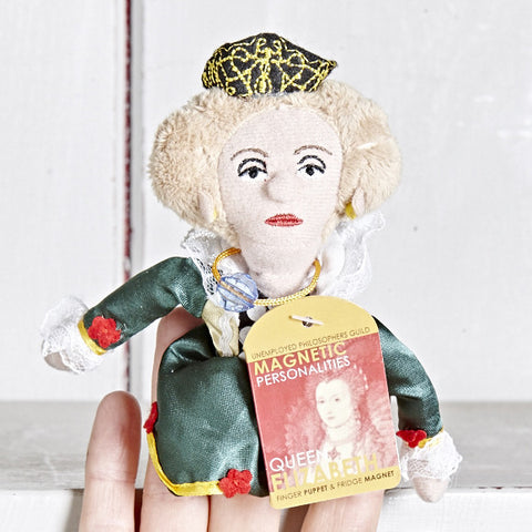 Queen Elizabeth Finger Puppet on a finger