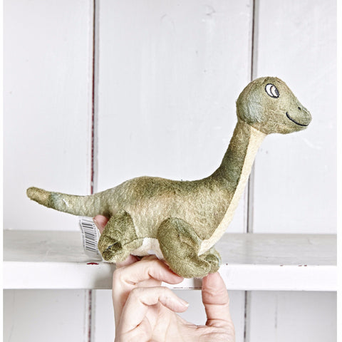 Brontosaurus Finger Puppet with hand