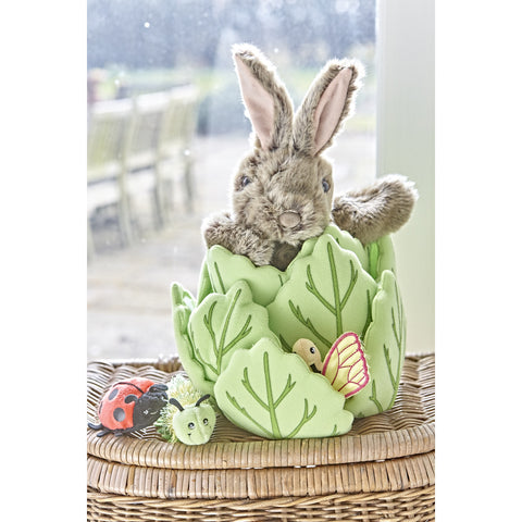 Hide-Away Puppets - Rabbit in a Lettuce (with 3 Mini Beasts) on basket with garden behind