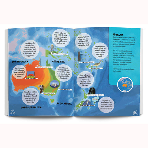 adventures around the globe, lonely planet kids, inside map page