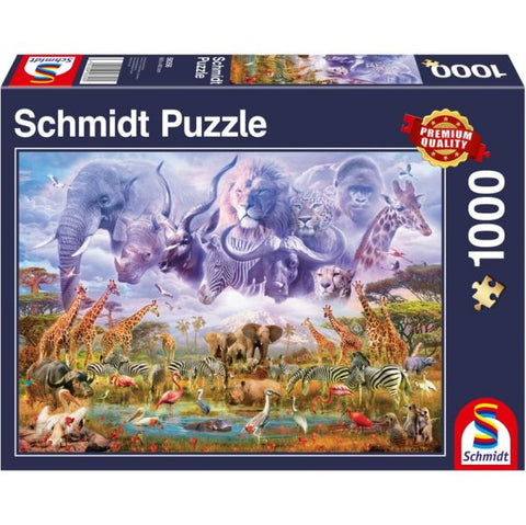 Animals At The Watering Hole Jigsaw Puzzle, front of box