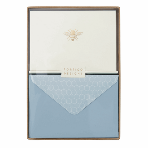 Bee Boxed Notecards - Portico - displayed in box