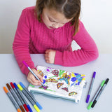 Doodle Pencil Case: Butterfly Design, girl with pens colouring