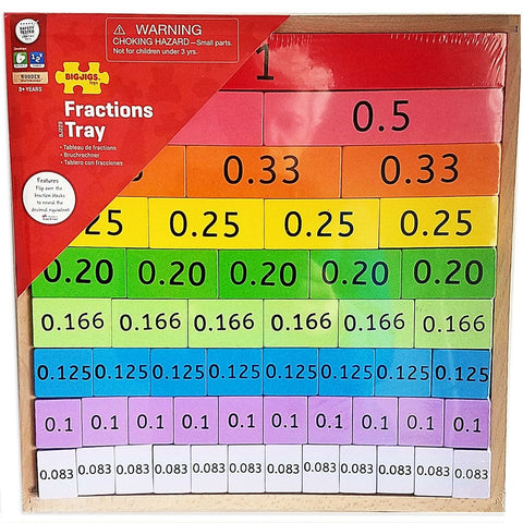Fractions Tray, packaged with decimals showing