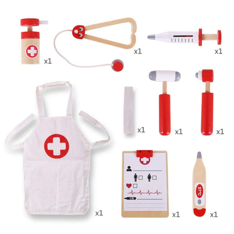 Wooden Doctor's Play Kit, contents itemised