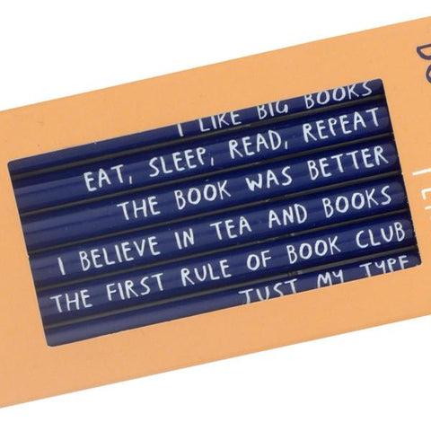 Bookish Pencils, close up of phrases