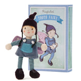 Ragtales Tooth Fairy doll blue, unboxed , next to box which is also a bed