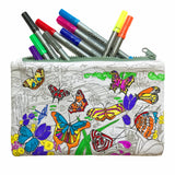 Doodle Pencil Case: Butterfly Design, coloured in design and pens