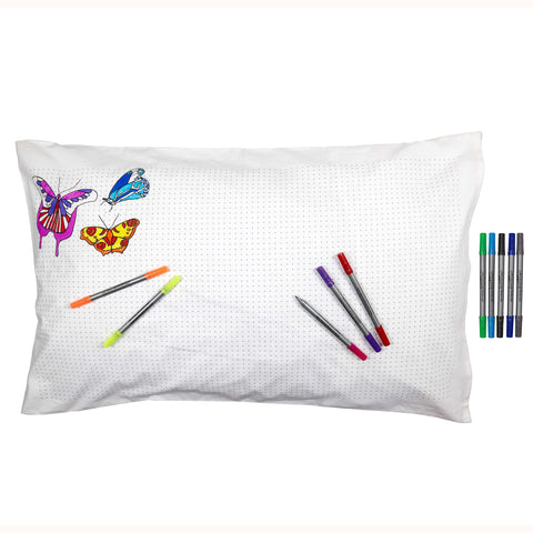 Doodle Butterfly Pillowcase, reverse side & pens