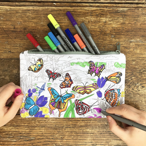 Doodle Pencil Case: Butterfly Design, lifestyle with hands