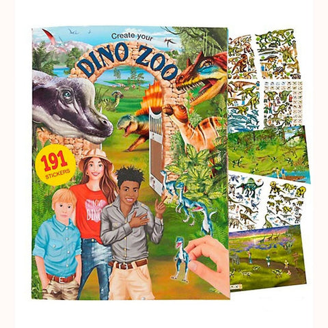 Create Your Dino Zoo Sticker Book, front cover and sticker sheets