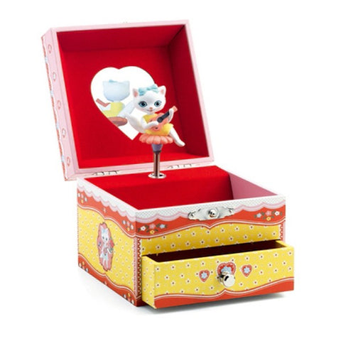 Cat's Song Musical Trinket Box, open lid and drawer